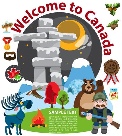 Canada infographics, Canada landmarks. Vector illustration on white background Illustration