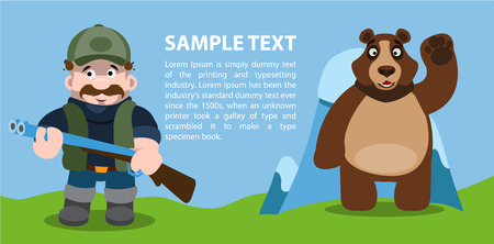 Concept bear and hunter, infographics, hunting