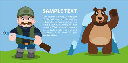 Concepto oso y cazador, infografía, caza.