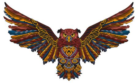 Patterned owl, tattoo design; design of a t-shirt, bag, postcard; african or indian totem