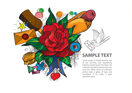 Tattoo rose or tattoo infographics, tattoo design, design of a t-shirt, bag, postcard