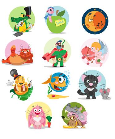 Set of cartoon characters, vector illustration of cartoon animals, moon, superhero
