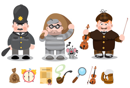 Set of cartoon characters, detective, thief, policeman Stock Illustratie