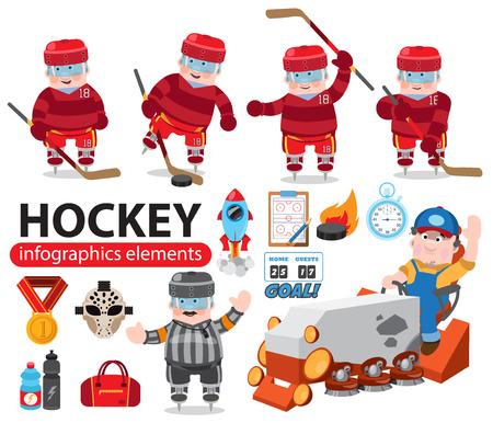 Elementos de infografía de hockey, hockey sobre hielo, juego. Ilustración de vector aislado sobre fondo blanco.
