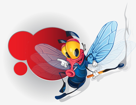 Funny fly, cartoon character. Vector illustration on white background