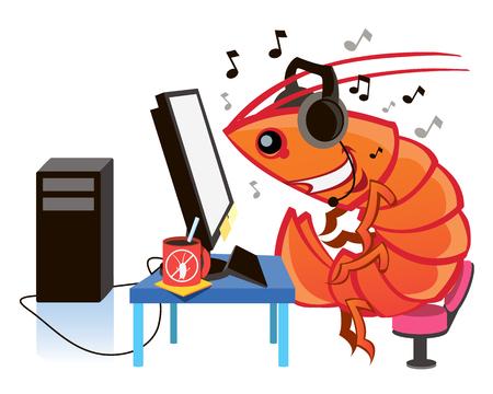 Cartoon shrimp, cartoon character