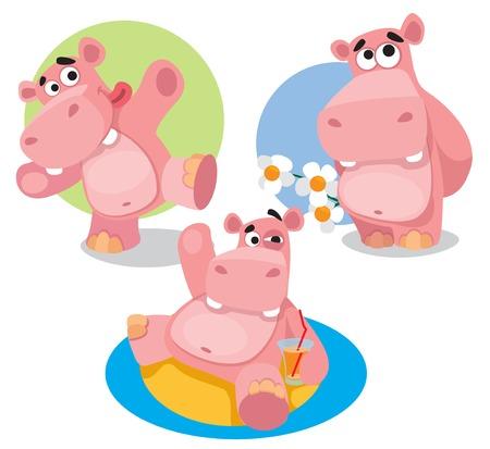 Hipopótamos divertidos. Ilustración de vector aislado sobre fondo blanco.