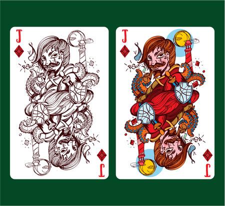 Jack of diamonds playing card symbol. Vektorové ilustrace