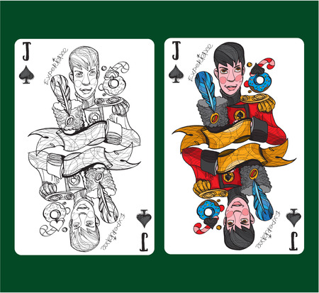 Jack of spades playing card symbol. Vector illustration