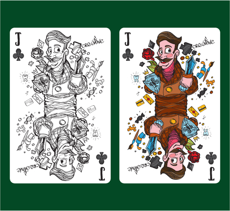 Jack of clubs playing card symbol.