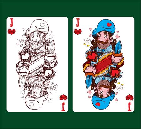 Jack of hearts playing card symbol. Vector illustration Illustration