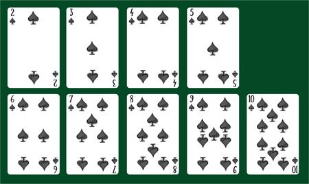 Jugando a las cartas espadas del 2 al 10. Una baraja de cartas. Ilustración de vector