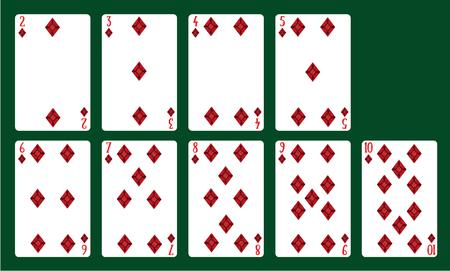 Jugando a las cartas palos de diamantes del 20 al 10. Una baraja de cartas. Ilustración de vector