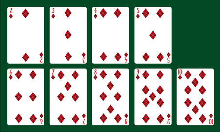 Playing cards suits of diamonds from 20 to 10. A deck of cards.