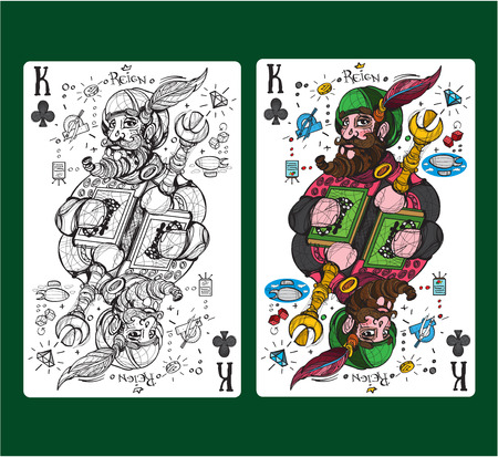 König der Vereine, die Kartenanzug spielen. Vektorillustration.