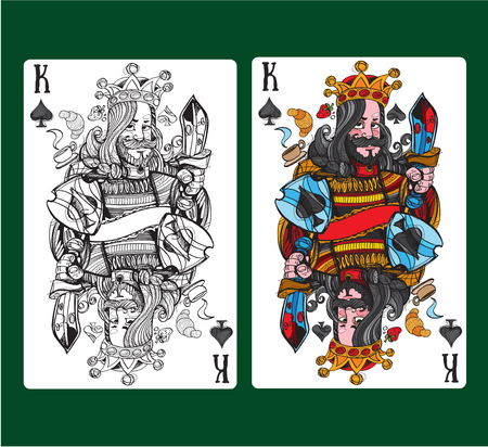 King of spades playing card. Vector illustration. Stok Fotoğraf - 104350492
