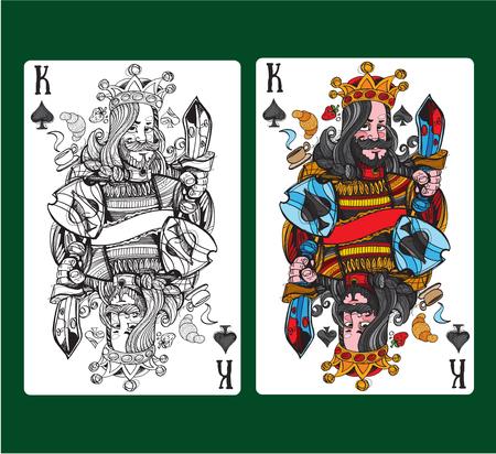 Rey de espadas jugando a las cartas. Ilustración vectorial