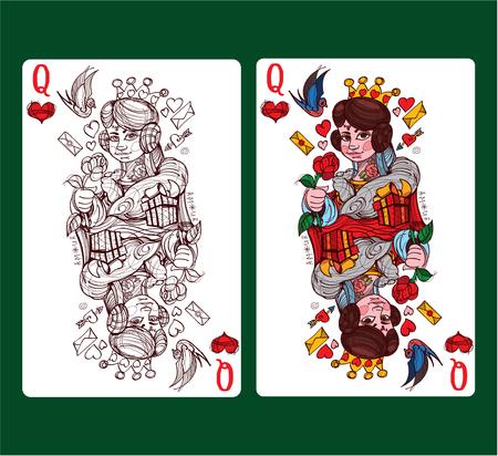 Reina de corazones juego de naipes. Ilustración de vector.