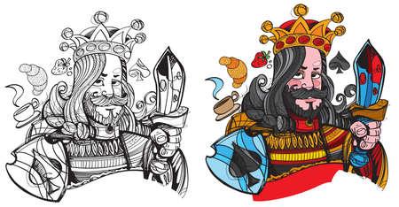 Figure character. King symbol spades. Playing cards. Vektoros illusztráció