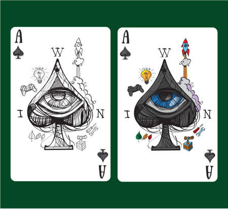 Playing card ace of spades.