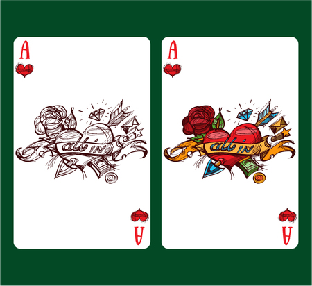 Playing card ace of hearts.