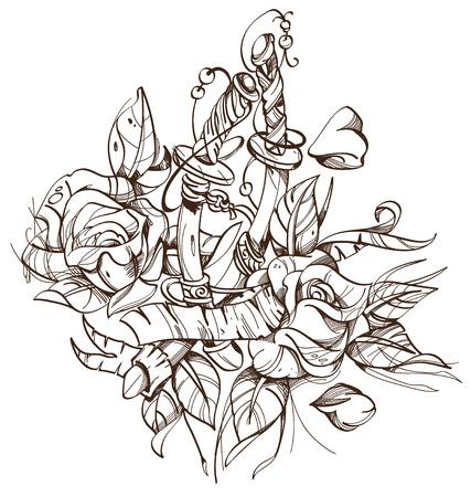 Schwerter, Rosen, Skizze, Tätowierung. Umreißen Sie die Vektorillustration, die auf weißem Hintergrund lokalisiert wird. Vektorgrafik