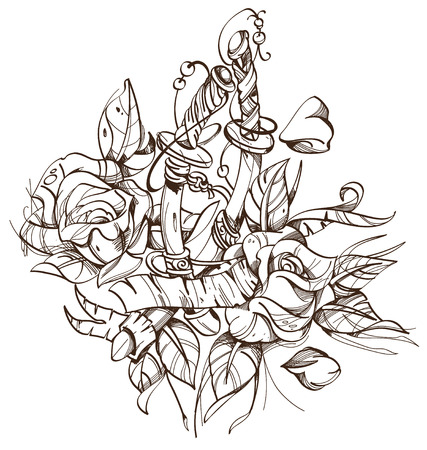 Swords, roses, sketch, tattoo. Outline vector illustration isolated on white background.