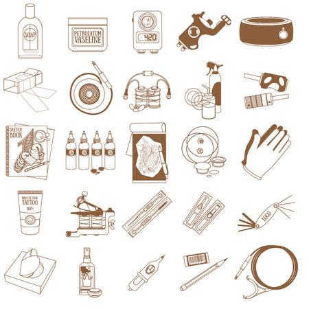 Set of professional tattoo studio tools, icons Ilustração Vetorial