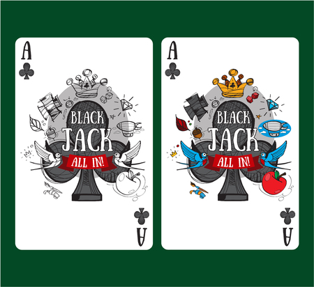 Playing card ace of clubs