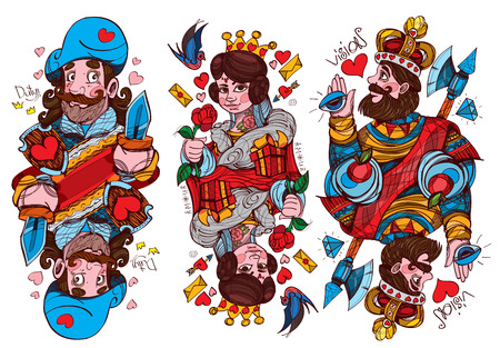 Figure characters. King, Queen and Jack of hearts suit. Playing cards. Vettoriali