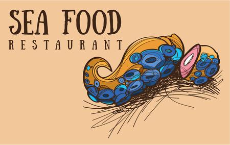 Sea food restaurant octopus, menu