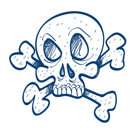 Skull and bones icon. Design elements in hand drawn style.