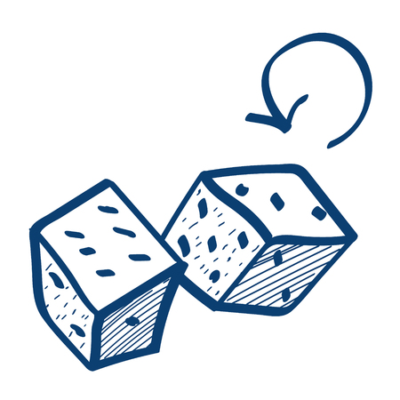 Dice icon. Design elements in hand drawn style.