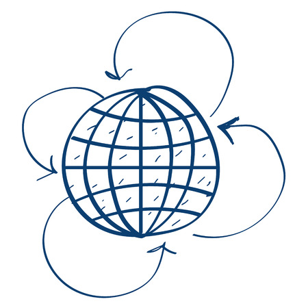 Globe and arrow icon. Design elements in hand drawn style. Illustration