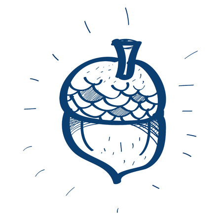 Acorn icon. Design elements in hand drawn style. Illustration