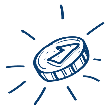 Coins icon. Design elements in hand drawn style.