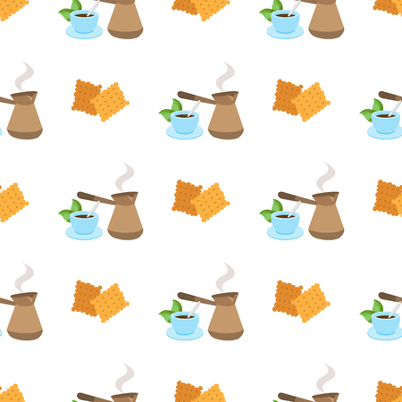 Seamless pattern with illustrationson a coffee theme. Turkish coffee pot, cup of coffee and crackers.