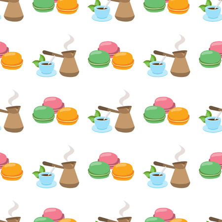 Seamless pattern with illustrations on a coffee theme. Turkish coffee pot, cup of coffee and macaroon Illustration