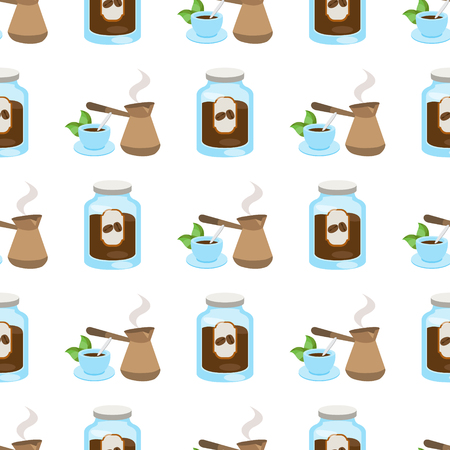 Seamless pattern with illustrations on a coffee theme. Turkish coffee pot, cup of coffee and jar of coffee.