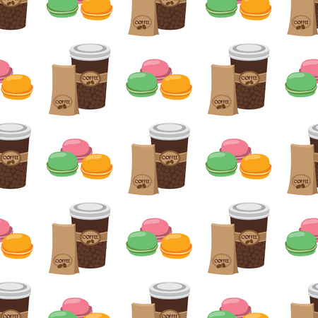 Seamless pattern with illustrations on the theme of coffee. Macaroon and coffee in the cup.