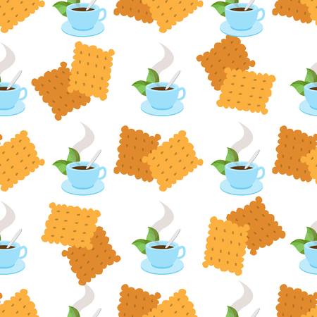 Seamless pattern with illustrations on the theme of coffee. A cup of hot coffee or tea and crackers.