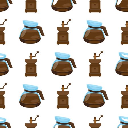 Seamless pattern with illustrations on the theme of coffee. Old coffee grinder and teapot.