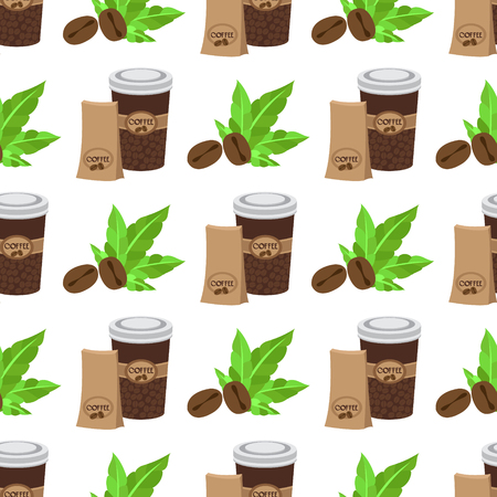 Seamless pattern with illustrations on the theme of coffee. Coffee beans and coffee in the cup.