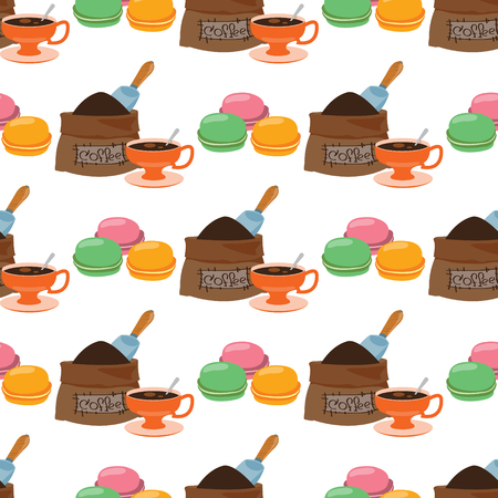 Seamless pattern with illustrations on the theme of coffee. Macaroon and a bag of coffee beans.