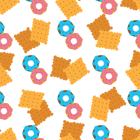 Seamless pattern with crackers and donuts on white background.