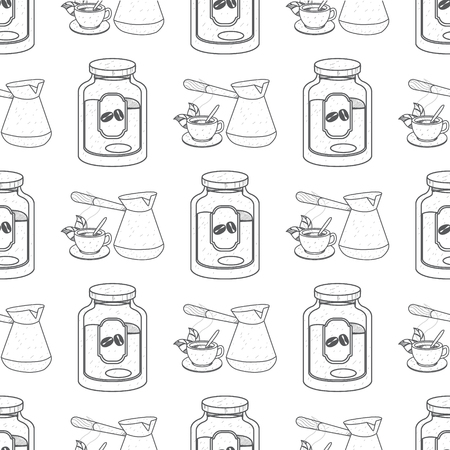 Seamless pattern with outline drawings on the theme of coffee. Turkish coffee pot and jar of coffee. 向量圖像