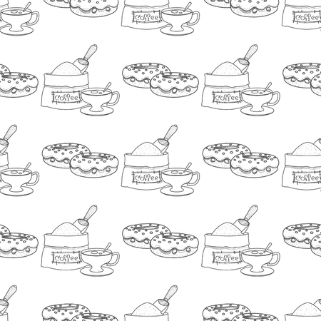 Seamless pattern with outline drawings on the theme of coffee. Donuts and a bag of coffee beans.