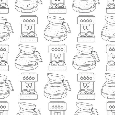Seamless pattern with outline drawings on the theme of coffee. Coffee maker and kettle for brewing coffee. Illustration