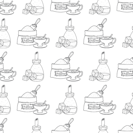 Seamless pattern with outline drawings on the theme of coffee. Sack of coffee beans cup and cane sugar.