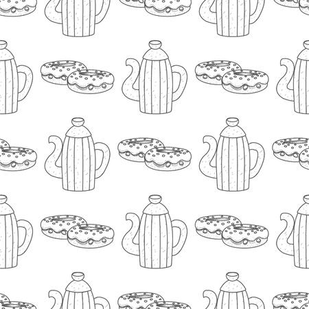 Seamless pattern with outline drawings on the theme of coffee. Vintage metal coffee pot and donuts.
